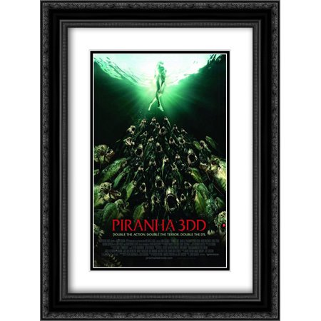 Piranha 3DD 18x24 Double Matted Black Ornate Framed Movie Poster Art