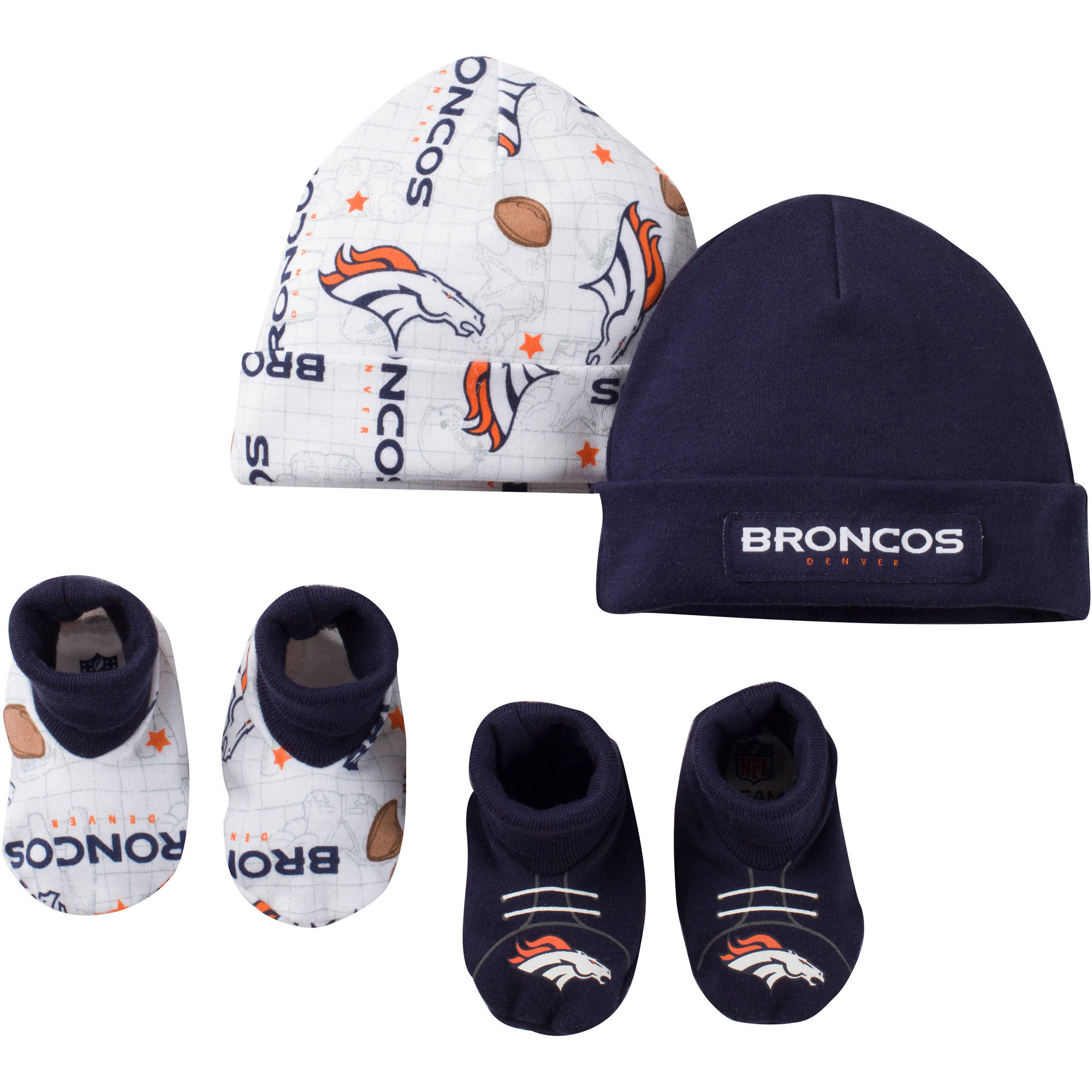 NFL Denver Broncos Baby Boys Accessory Set, 2 Caps and 2 Booties, 4-Piece