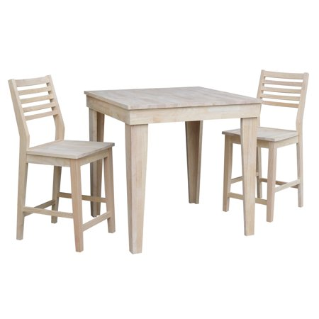 Aspen Solid Wood Counter Height Table with 2 Aspen Slat Stools - Unfinished- 3 Piece (Aspen Table Set)