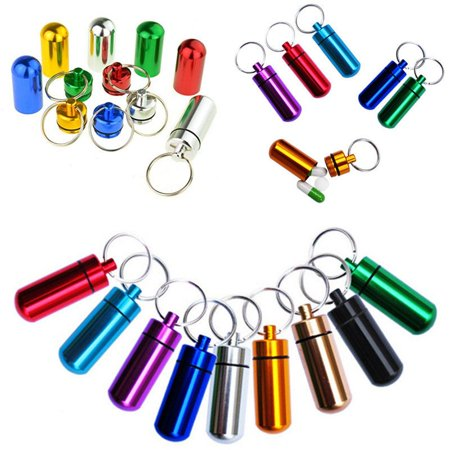 9pc Waterproof Aluminum Pill Box Case Bottle Holder Keychain Container (Pills Bottle)