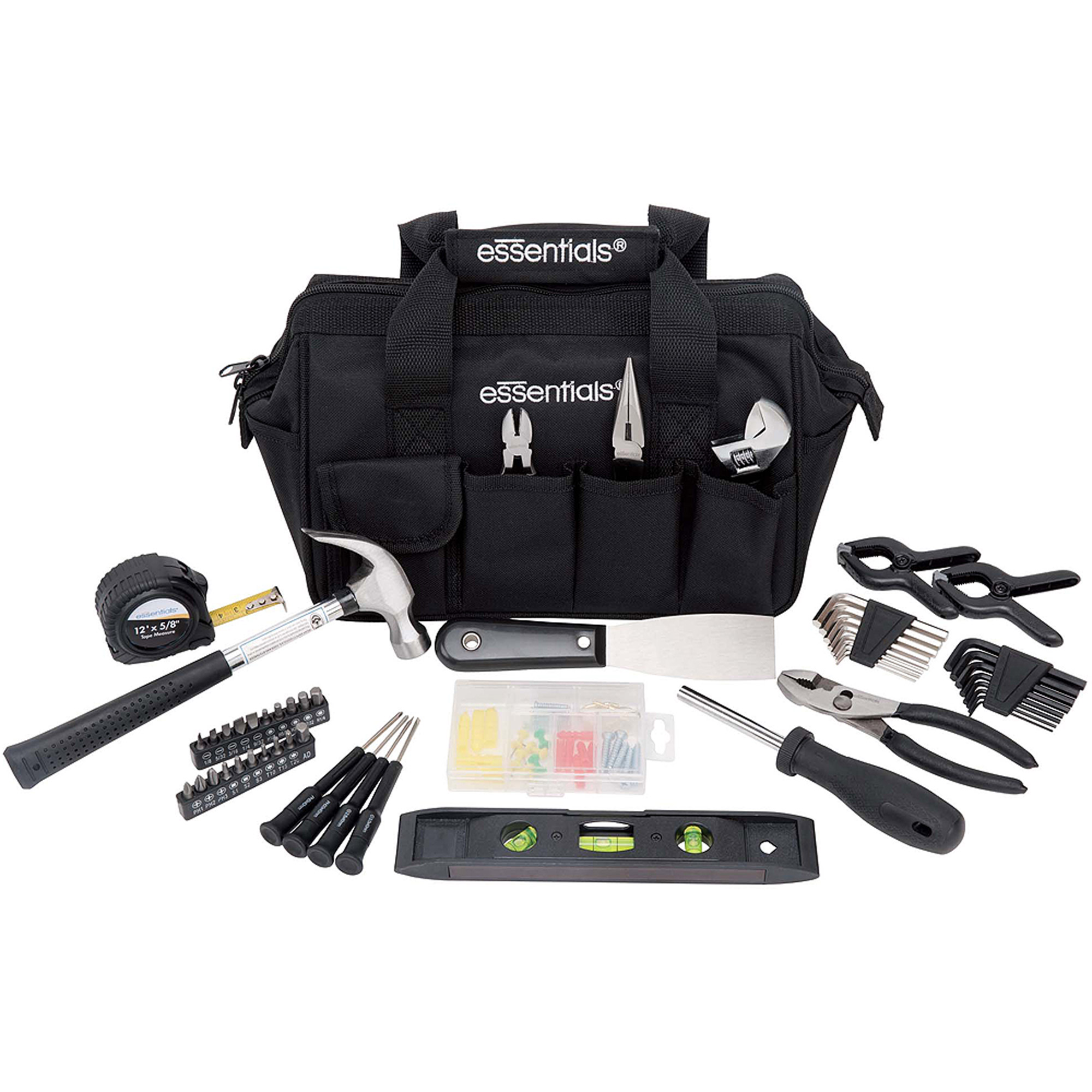 Essentials 53-Piece Around-The-House Tool Kit, Black