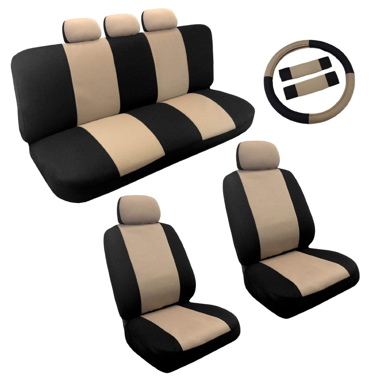 Dual Color Two Tone Car Seat Cover Set 14pc Front & Rear Seats PLUS BONUS: Steering Wheel Cover Set (Black and Tan)