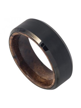 8mm Tungsten Black IP Plated Brushed Finish Beveled Edge with African Sapele Mahogany Wood Sleeve/Inner Ring Wedding Band Ring For Men Or Ladies