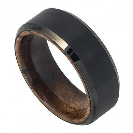 8mm Tungsten Black IP Plated Brushed Finish Beveled Edge with African Sapele Mahogany Wood Sleeve/Inner Ring Wedding Band Ring For Men Or - Brushed Finish Beveled Edges