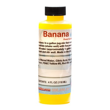 Banana Shaved Ice and Snow Cone Flavor Concentrate 4 Fl Ounce Size