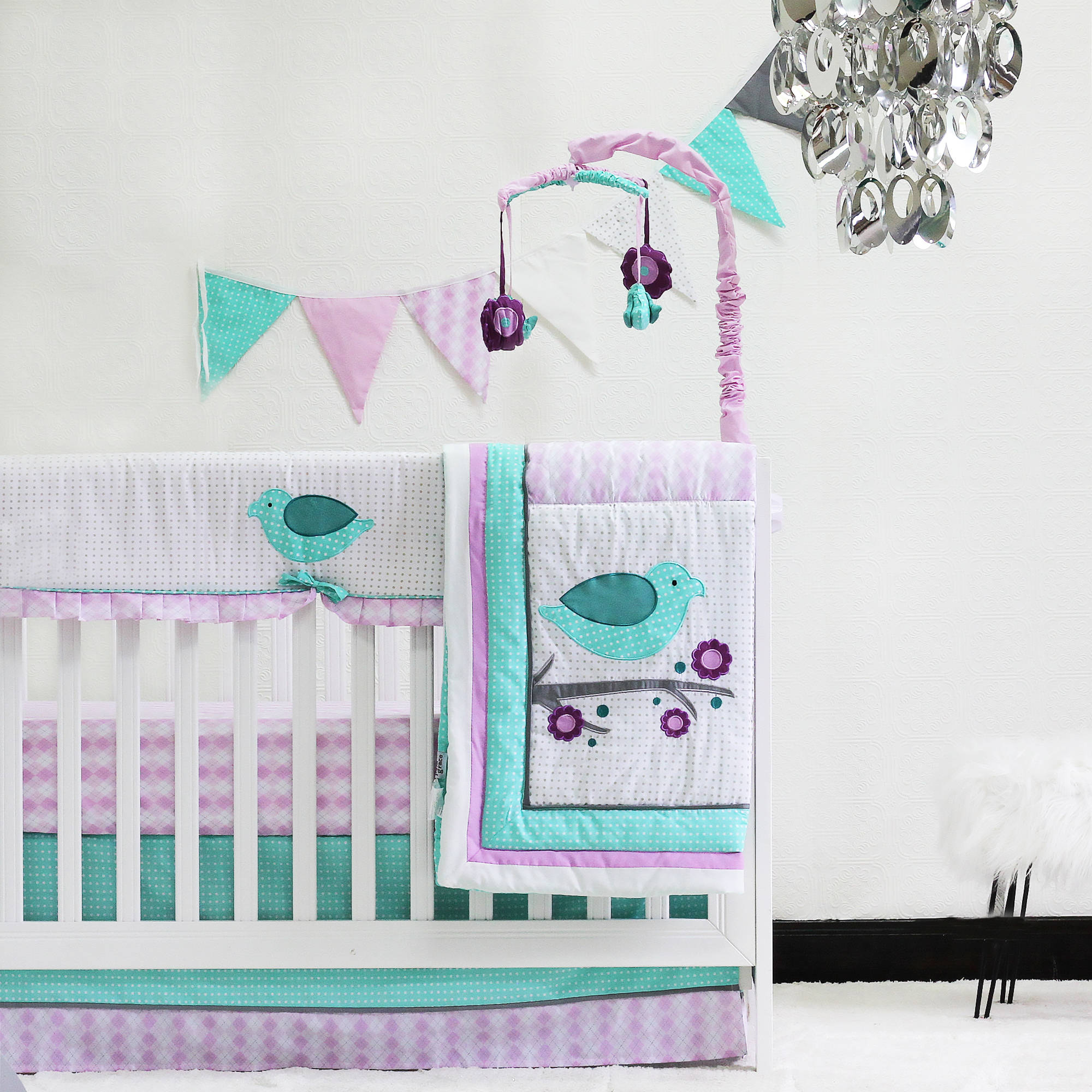 Pam Grace Creations Lovebird 10 Piece Crib Bedding Set, Lavendar