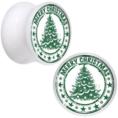 Body Candy White Acrylic Christmas Tree Merry Christmas Saddle Plug Set of 2 9/16