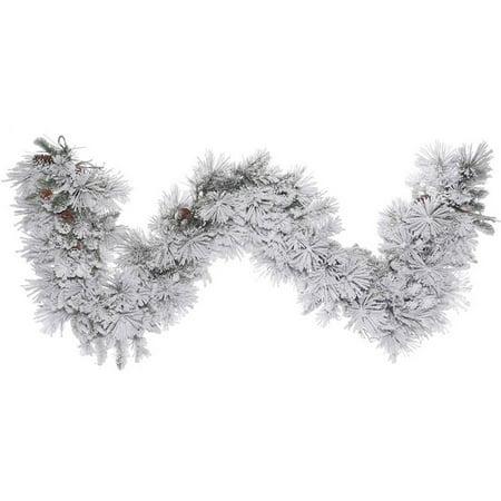 Vickerman 9' Flocked Alberta Artificial Christmas Garland, Unlit ()