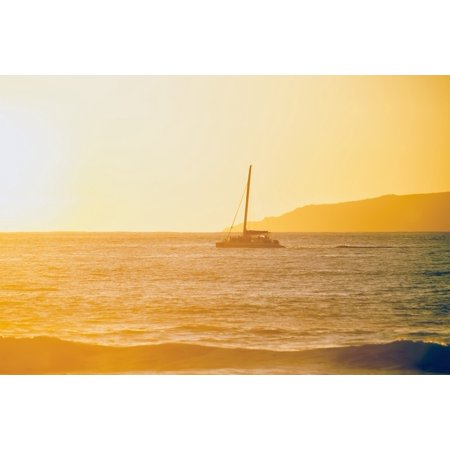 Golden surf visible from Barking Sands Beach with catamaran crossing the channel Kekaha Kauai Hawaii United States of America Stretched Canvas - Ian Ludwig  Design Pics (19 x