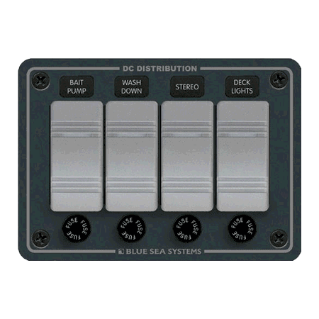 Blue Sea Systems #8262 Switch Panel, Contura w/ Fuses, 4 Switches, Gray (Sea Systems Waterproof Contura Switches)