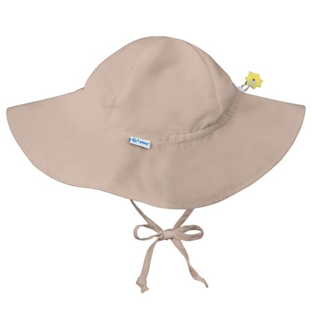 Iplay Brim Sun Hat for Baby Boy Baby Girl or Unisex Sun Protection Wide Brimmed Baby Hat - Solid Khaki Beige Tan Infant 9-18 Months Adjustable Fit Outdoor Hat With Chin Strap Floppy Beach Swim