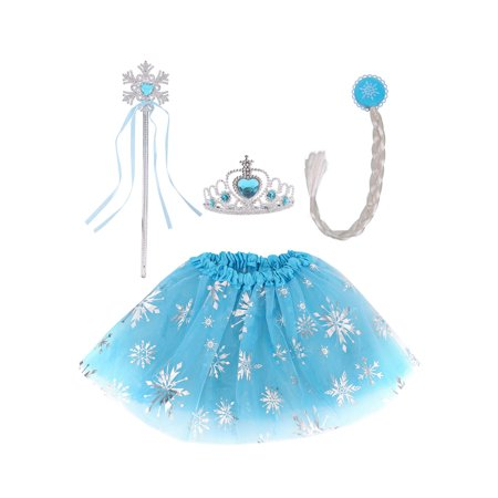Fairy Costume Wing Set Party Dress for Girls with Tutu Wand Headband, Blue](Wands And Wings)