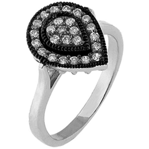 Doma Jewellery MAS02197-7 Sterling Silver Ring with Black Rhodium and CZ - Size 7