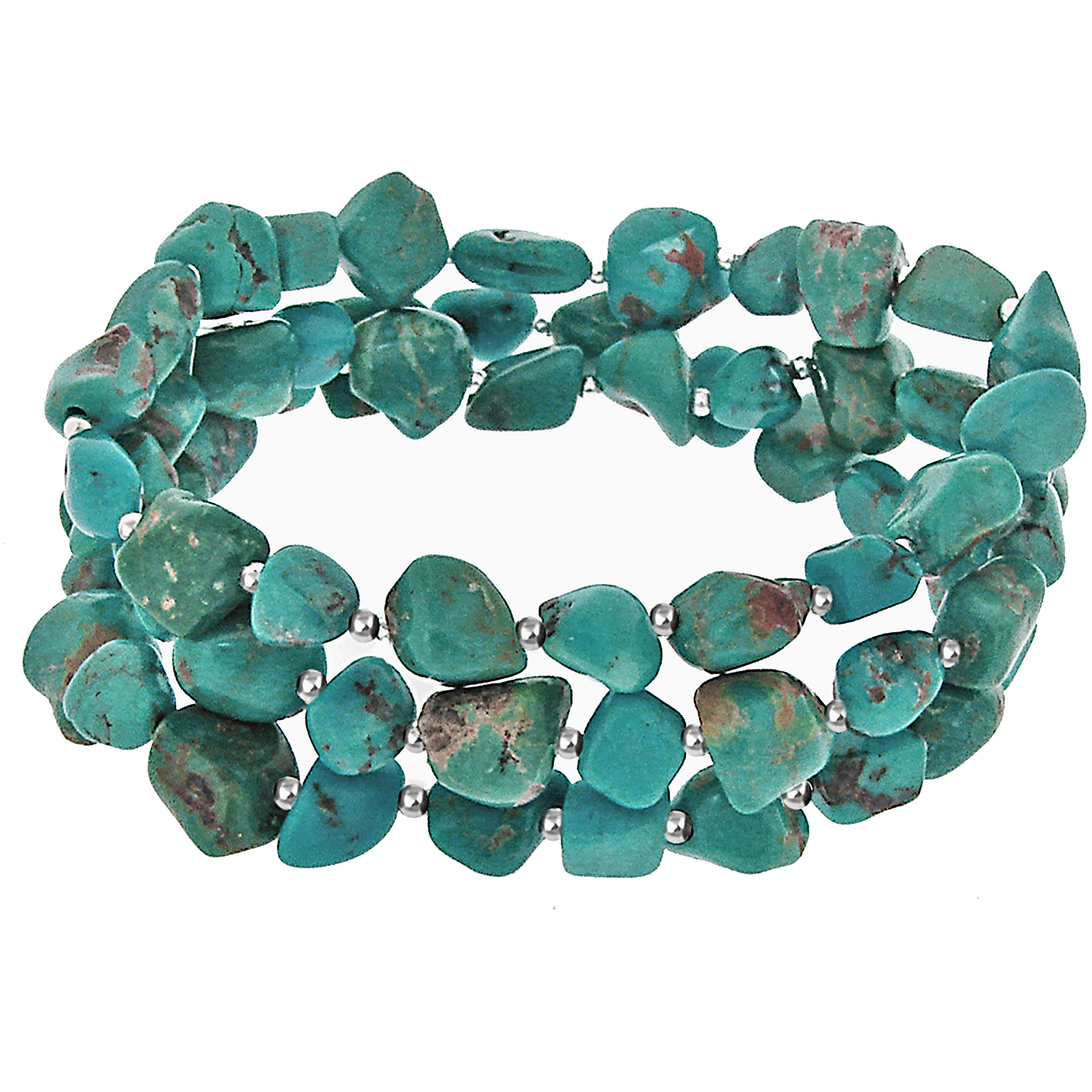 Turquoise Sterling Silver Three-Row Stretch Bracelet, 7.5""