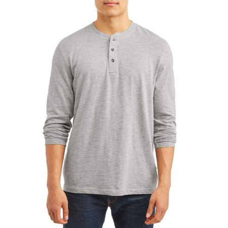 Men's Long Sleeve Textured Slub Core Henley, Available up to size XL - Long Sleeve Henley In Black