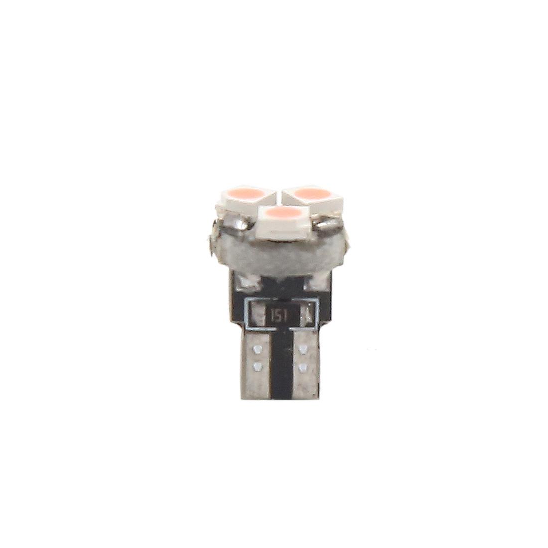 5pcs 12V T5 1206 SMD 3 LED Pink Dashboard Instrument Light with Socket Internal - image 4 de 5