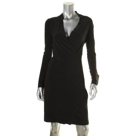 Norma Kamali Womens Matte Jersey Faux-Wrap Wear to Work