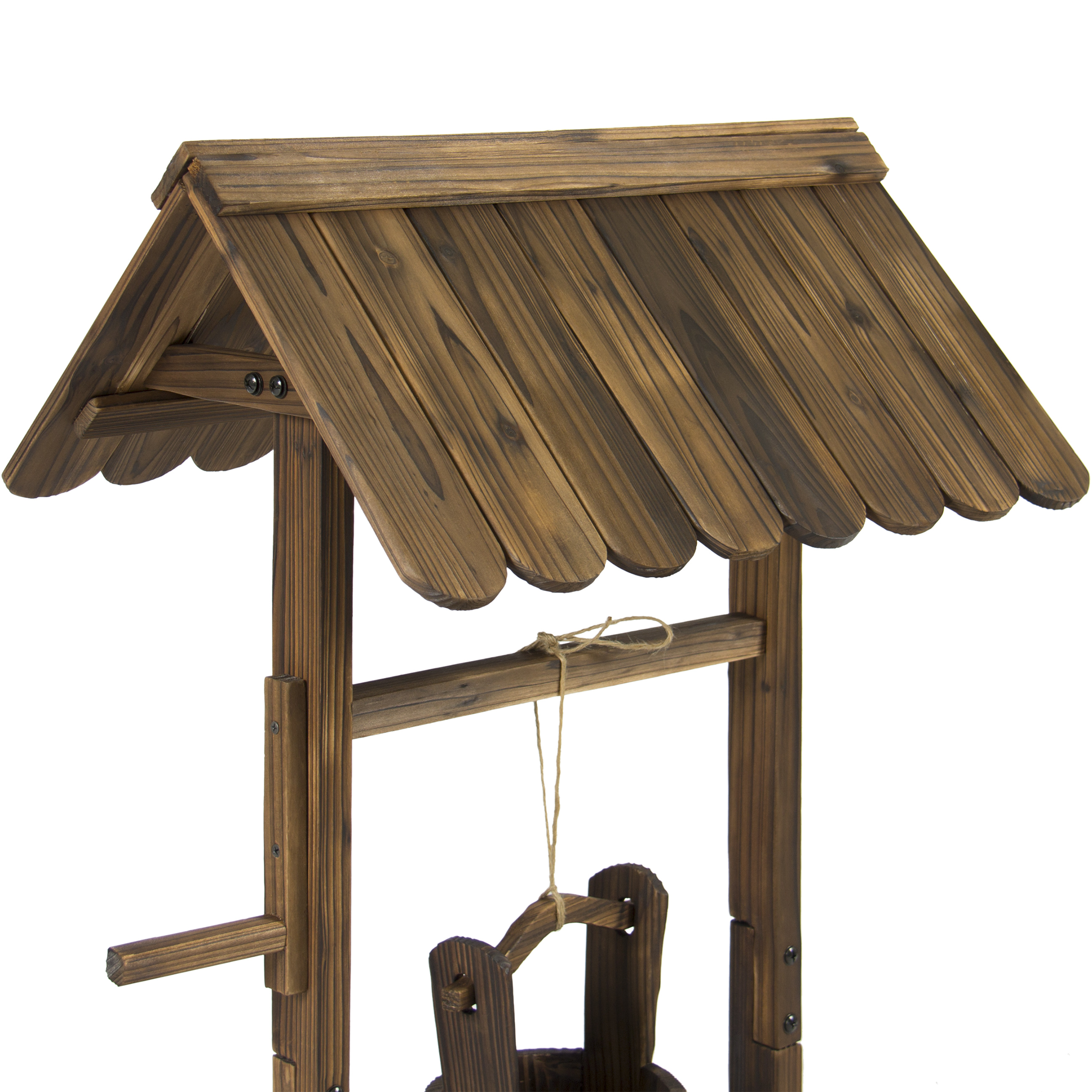 Best Choice Products Wooden Wishing Well Bucket Flower Planter Patio Garden Outdoor Home Decor