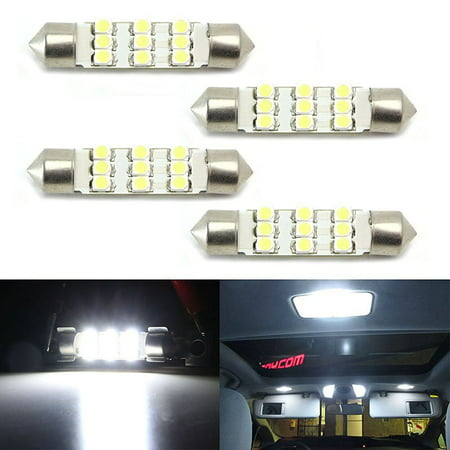 - iJDMTOY (4) Xenon White 9-SMD-1210 1.72 42mm LED Bulbs 578 576 211-2 212-2 214-2 For Car Interior Dome Lights, Cargo Area Trunk Room Lights, etc