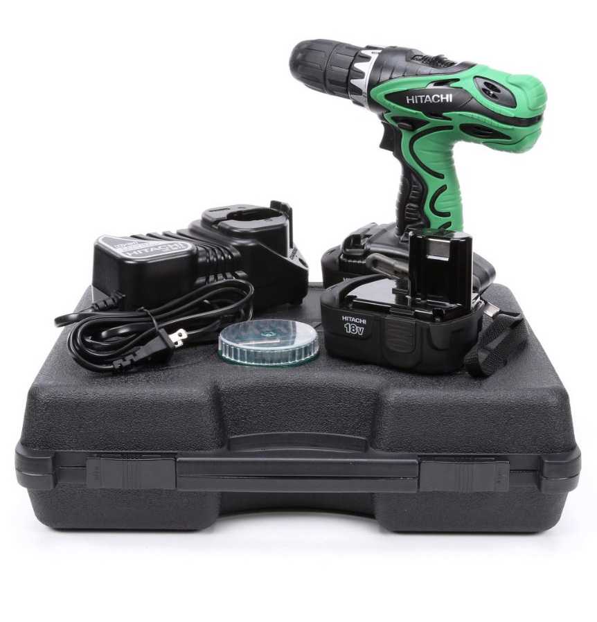 HITACHI DS18DVF3M Factory Reconditioned 18V 1/2 inch NiCd Cordless 18 Volt Driver Drill Kit