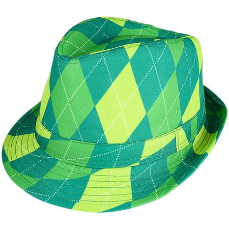 Adults Saint Patrick's Day Gangster Irish Plaid Fedora Hat Costume Accessory