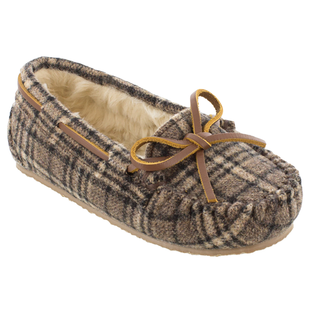 Click here to buy Minnetonka Boys Cassie Brown Plaid Slipper by MINNETONKA.