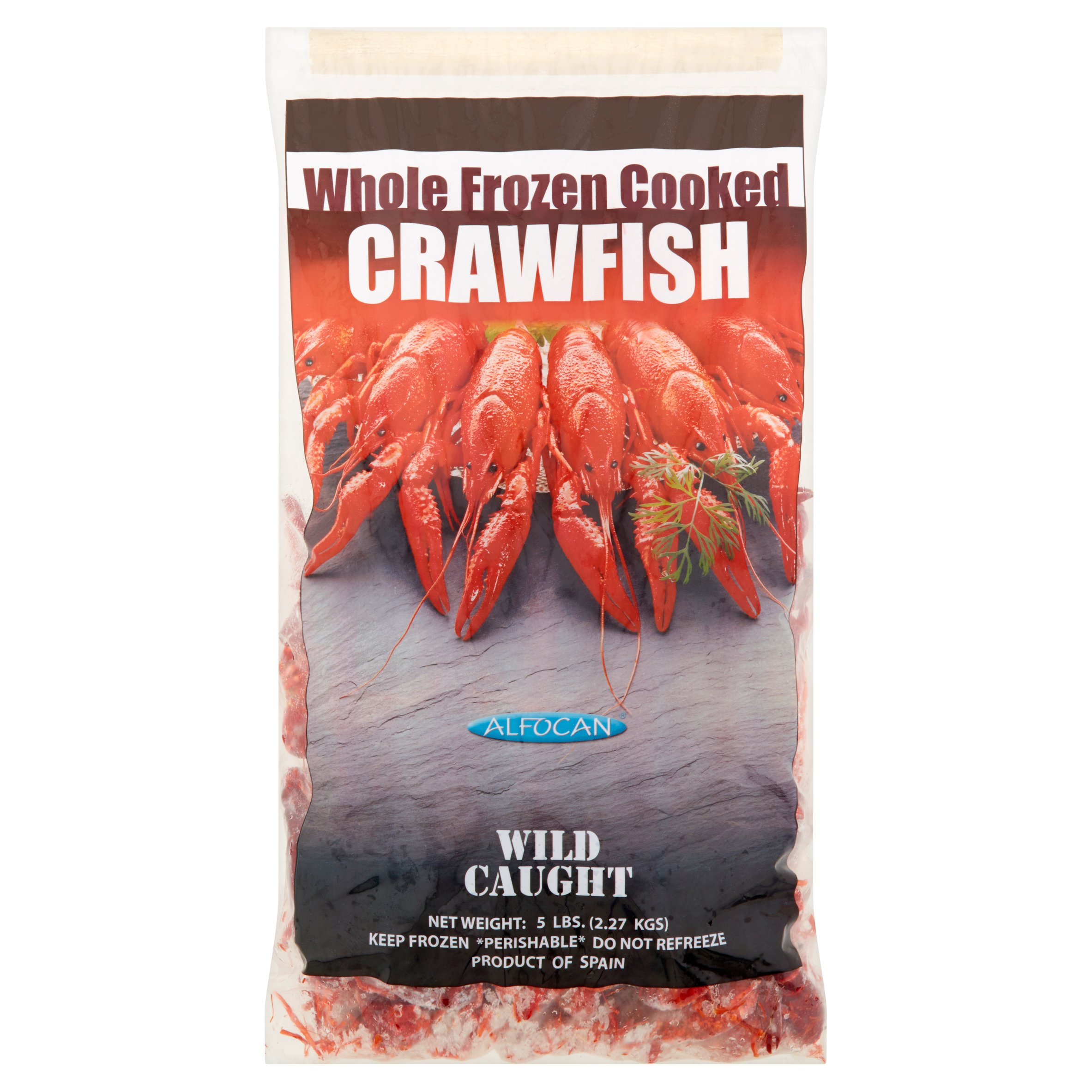 Alfocan Whole Frozen Cooked Crawfish, 5 lbs