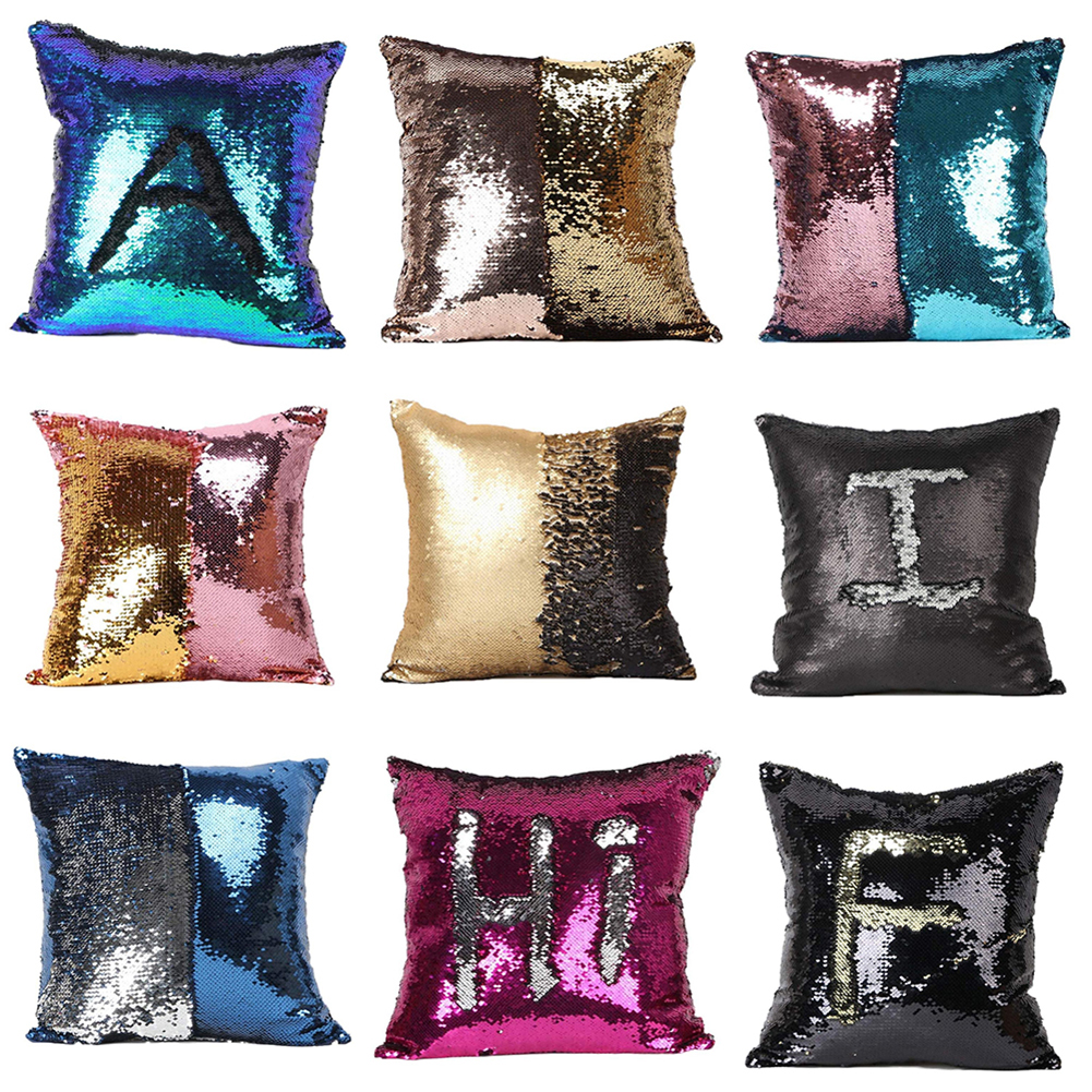 Girl12Queen Double Color Glitter Sequins Throw Pillow Case Home Decor Sofa Cushion Covers