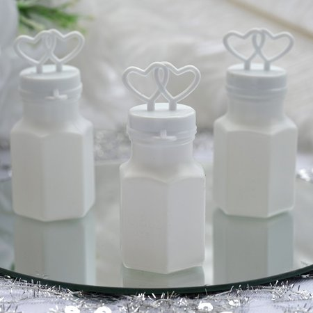 Efavormart Wholesale White Double Heart Bubbles Wedding Bridal Favor - 24/pk Affordable Wedding Cd Favors