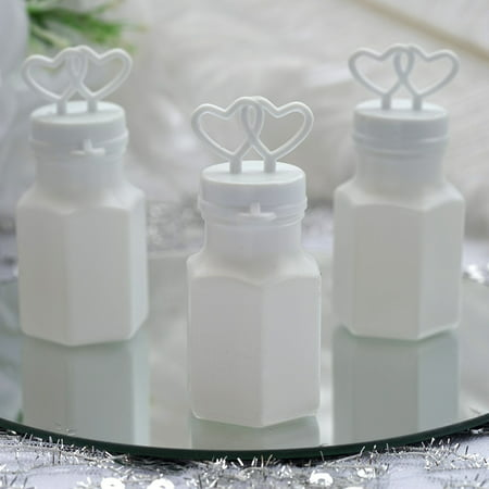 Efavormart Wholesale White Double Heart Bubbles Wedding Bridal Favor - 24/pk - Wedding Giveaways