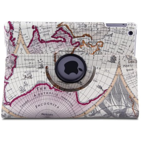 Auto Sleep Wake 360 Degree Rotating Map Design Smart Case Cover For Apple Ipad Air  New Ipad 5 5Th Generation  2013 Release   Free Gift One Stylus Pen