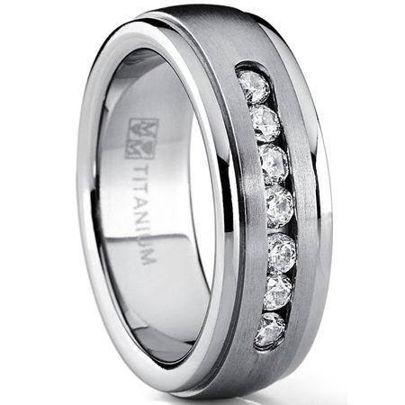 7MM Men's Dome Brushed Titanium Wedding Band Ring with 7 Round Cubic Zirconia, Comfort Fit Domed Titanium Wedding Band