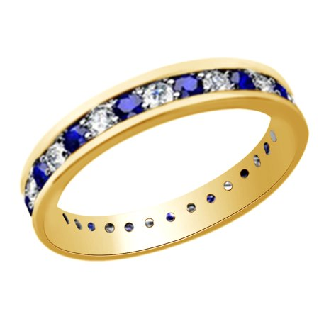 (1.25ct) Simulated Blue Sapphire & White Diamond Eternity Wedding Band Ring In 14k Solid Gold With Ring Size 10