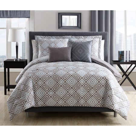 9 Piece Kendall Gray/Mocha Reversible Bed in a Bag Set ()