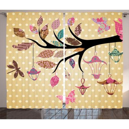 Floral   Curtains 2 Panels Set, Tree Branch with Original Lantern and Embellished Ethnic Leaves on Polka Dots Backdrop Decor , Living Room Bedroom Decor, Multi, by -