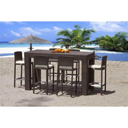 Outdoor High Dining Set Tempered Glass Top picture