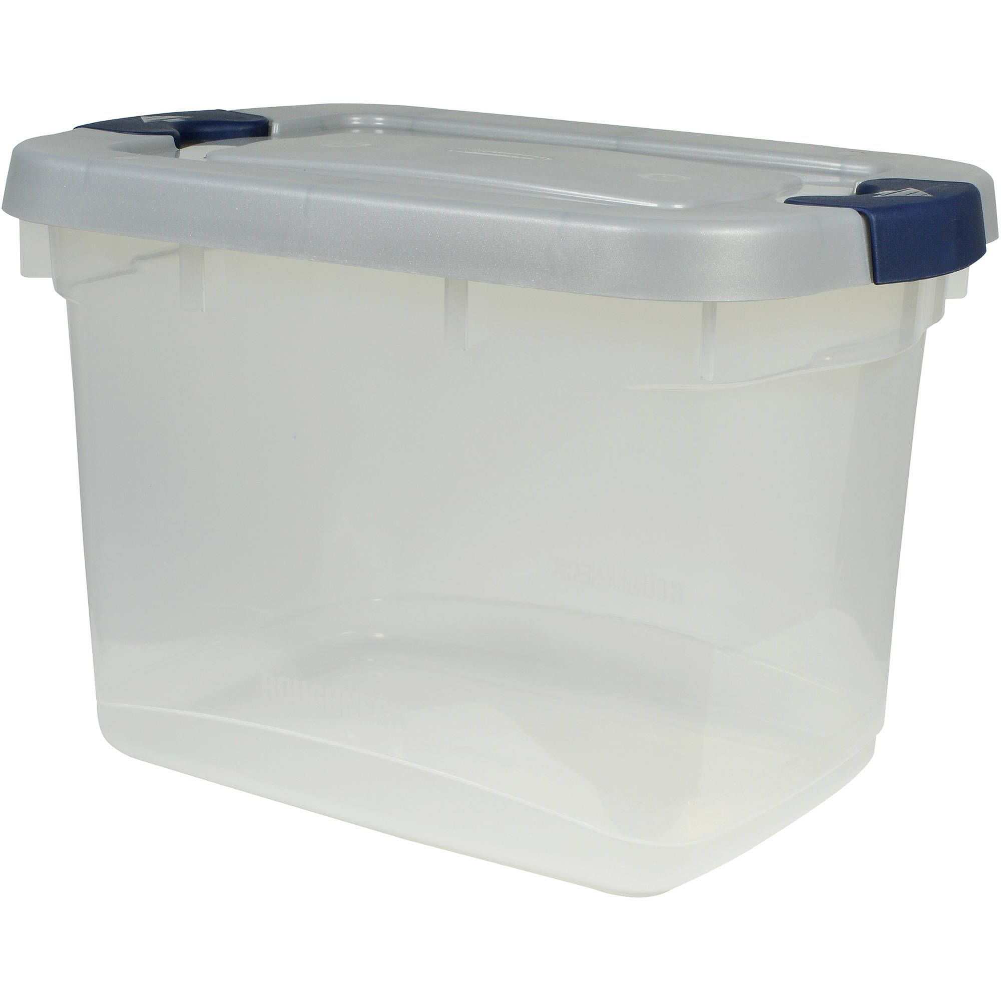 rubbermaid roughneck clear storage tote bins 19 qt gal with gray ebay. Black Bedroom Furniture Sets. Home Design Ideas