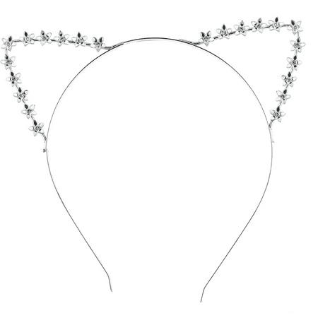 Lux Accessories SilverTone Floral Flower Festival Costume Cat Ear Metal Headband](Festival Accessories)
