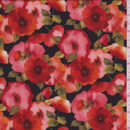Blackred Poppy Floral Activewear Knit Fabric By The Yard Walmart