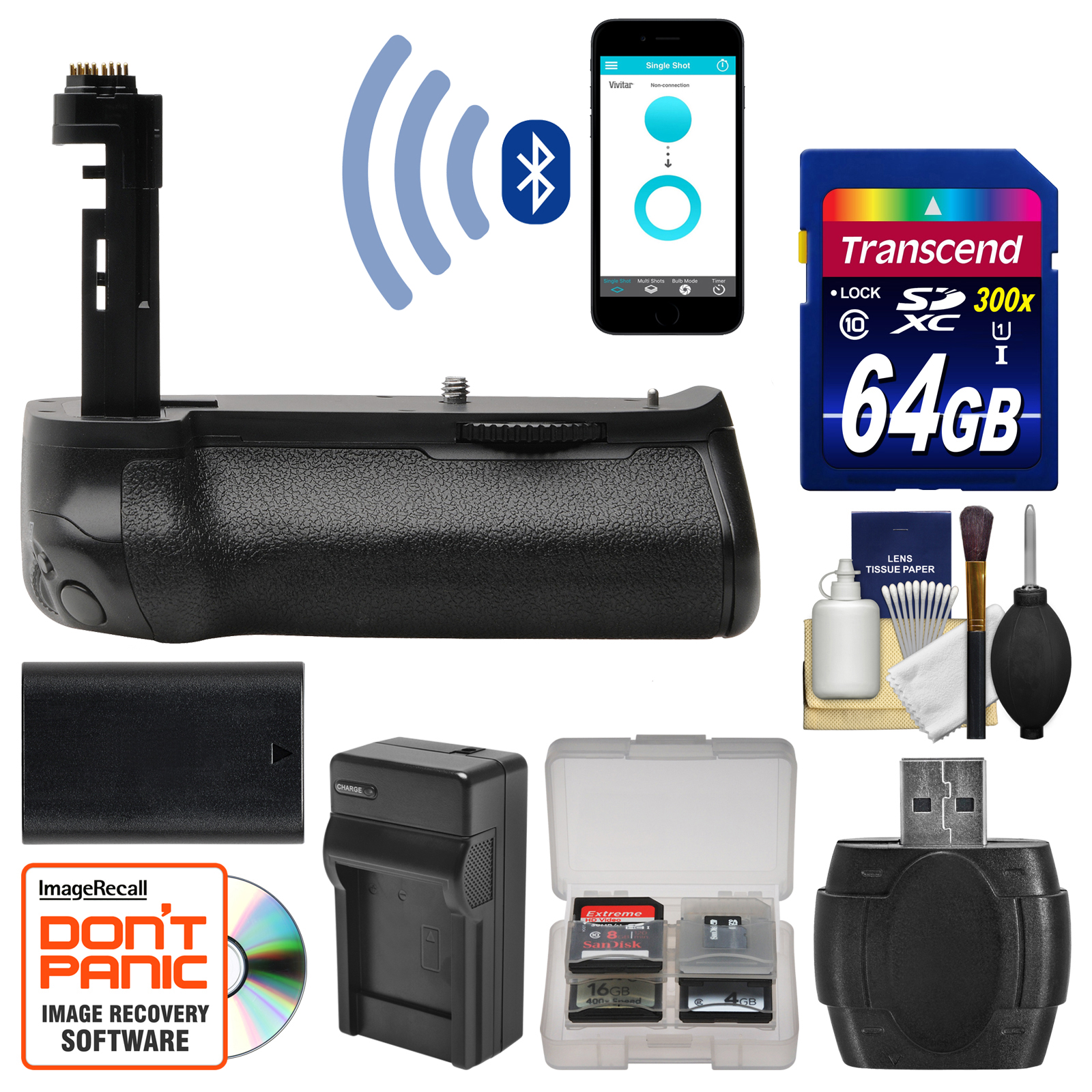 Vivitar BG-E16 Smart Bluetooth Smartphone Control Battery Grip for EOS 7D Mark II DSLR Camera with 64GB Card +... by Vivitar