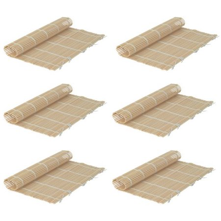 Set of 6 Bamboo Sushi Rolling Mats 9-1/2 Inches