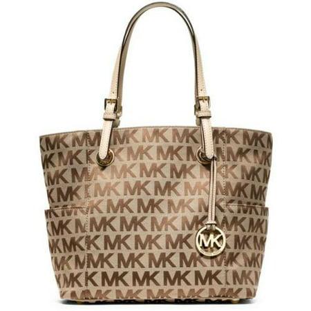 23d0fb66eb885c Michael Kors Jet Set MK Logo Signature Tote Handbag - Walmart.com