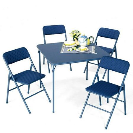 mainstays blue 5 piece card table set. Black Bedroom Furniture Sets. Home Design Ideas