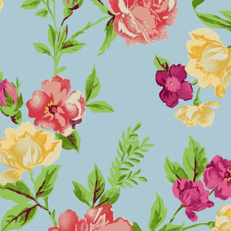 "Waverly Inspirations 100% Cotton 44"" Wide Large Floral Aqua Print Fabric, per Yard"