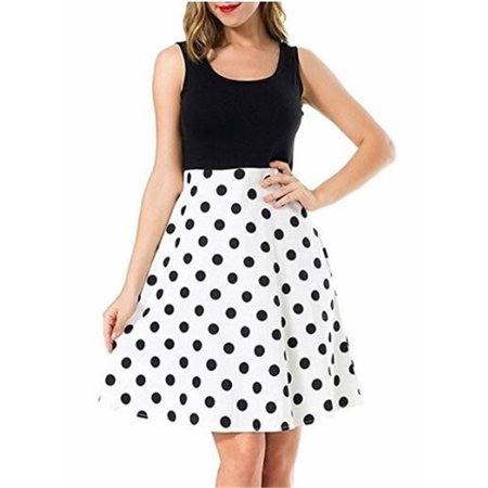 Sleeveless Sweet Dot Floral Print Knee Length Dress