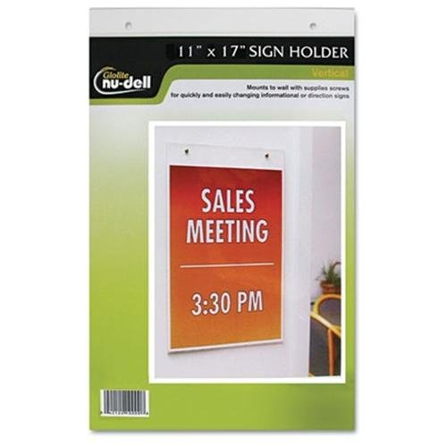 "Nu-dell Vertical Wall Sign Holder - 11"" Width X 17"" Height - Acrylic - Clear (38017z)"