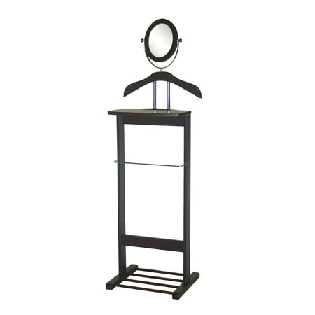 VL17011 Trojan Mirror Valet with 360 Degrees Vertical and Horizontal Swivel Mirror and Shoe Rack in Walnut