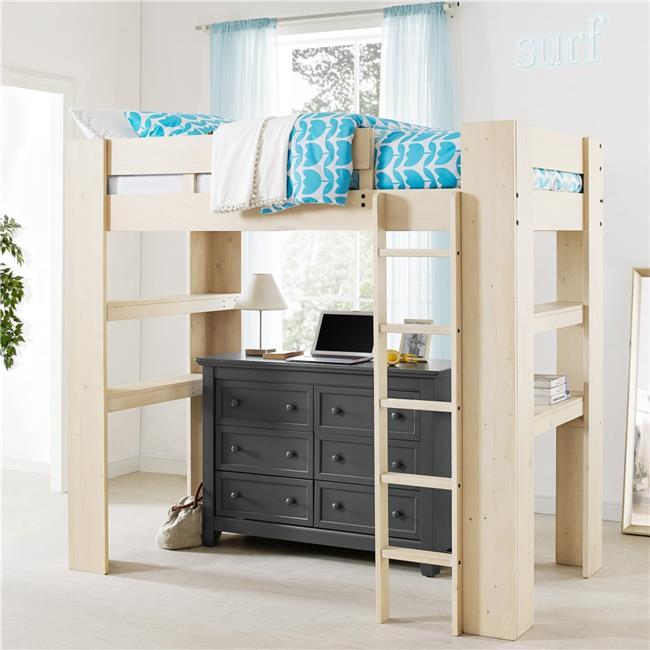Dorel Living Baylee Twin Loft Bed, Natural Whitewash