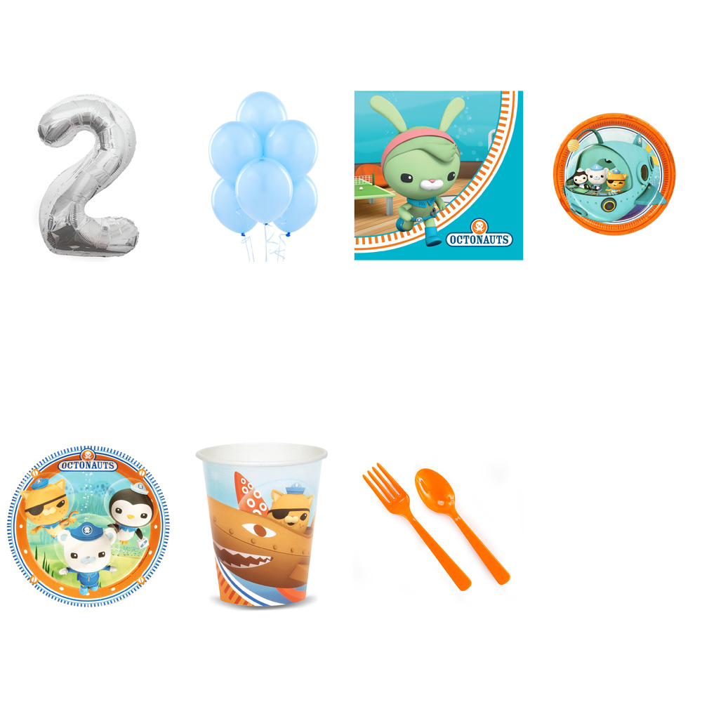 OCTONAUTS PARTY SUPPLIES PARTY PACK FOR 32 WITH SILVER #2 BALLOON