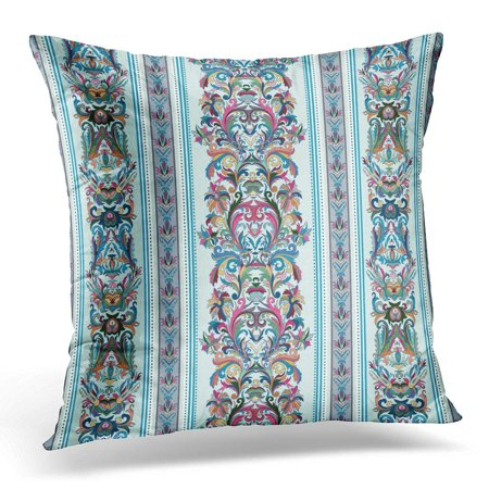 BOSDECO Pink Interior Vintage Royal Renaissance Striped Design Baroque Pattern Pastel Tone on Light Blue Flower Pillowcase Pillow Cover Cushion Case 20x20 inch - image 1 of 1